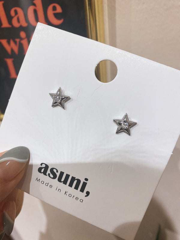 Pieces Diamond Star Stud Earrings in Silver