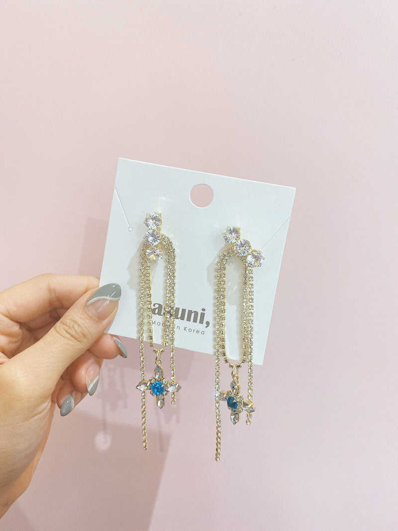 Earrings with Blue Crystal Drop In Gold Tone