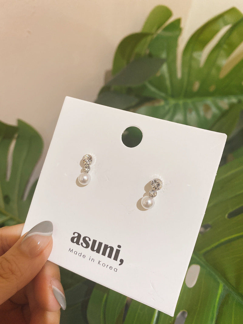 Diamante x Pearl Charm Earrings In Silver
