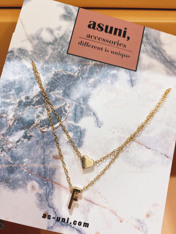 Alphabet x Heart Double Chocker In Gold