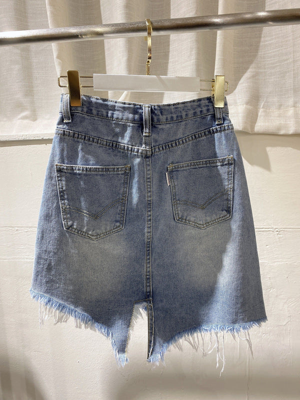 Asymmetrical Denim Skirt (Pre-order)