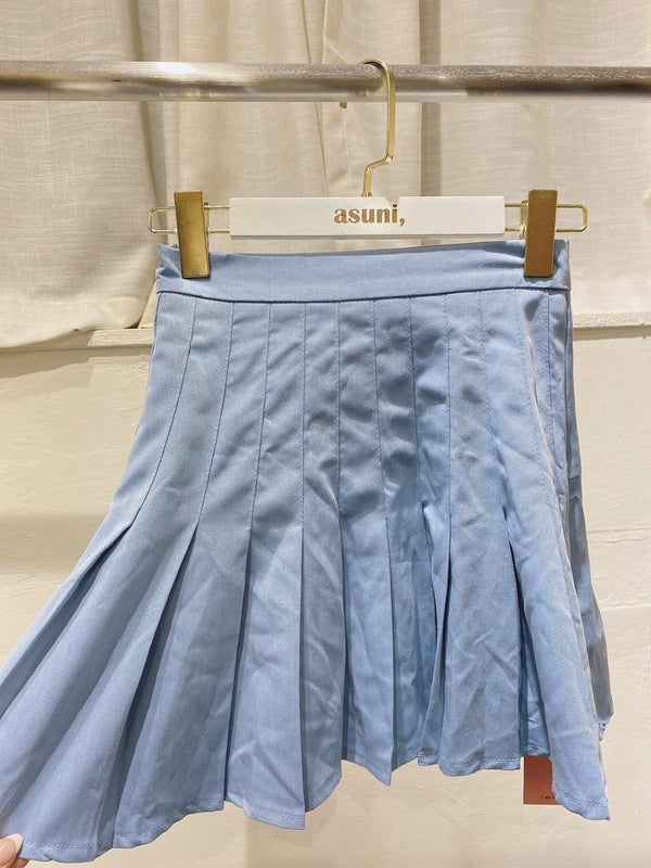 Pleated Mini Skirt In Blue (Pre-order)
