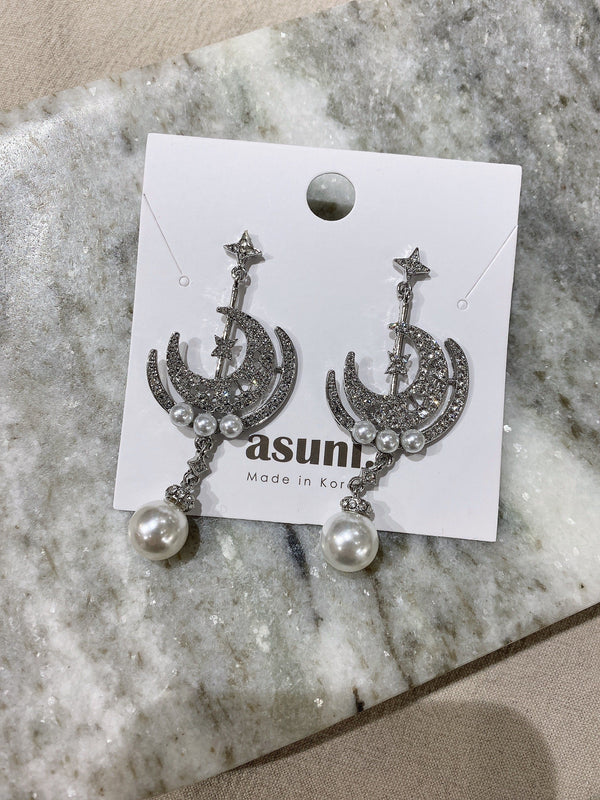 Moon x Pearl Drop Earrings In Silver Tone