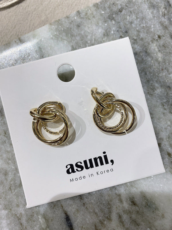 Double Chain Earrings In Gold