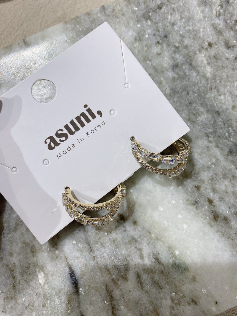 Crystal Double Hoop Earrings In Gold