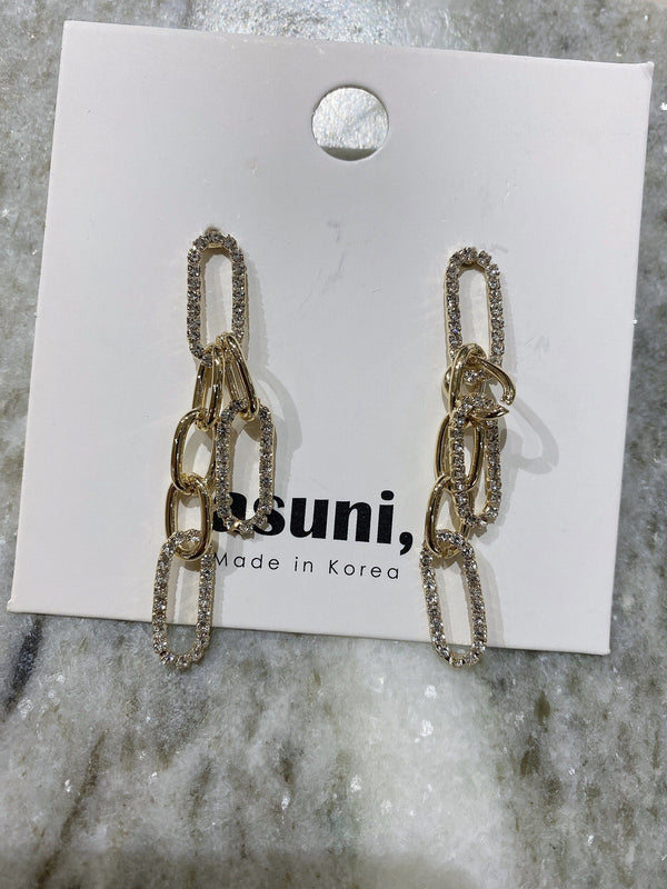 Diamond Drop Chain Earrings In Gold Tone