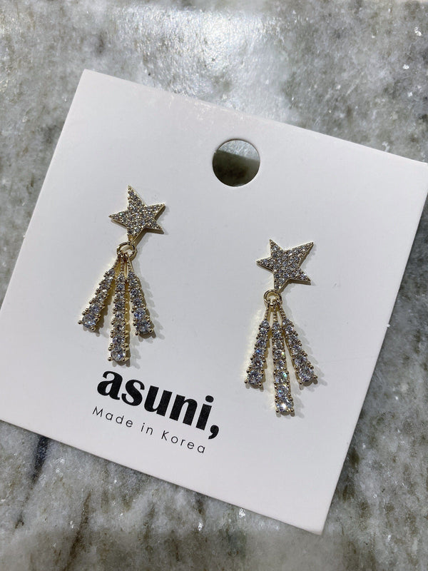 Shooting Stars Earrings In Gold Tone