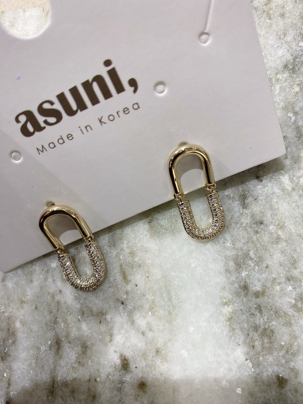 Chain on Chain Earrings In Gold Tone