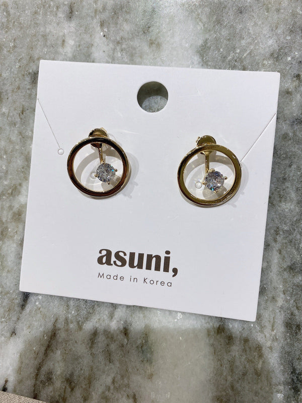 Circle x Diamond Front Back Earrings In Gold Tone