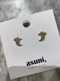 Mini Stars x Moon Stud Earrings In Gold Tone