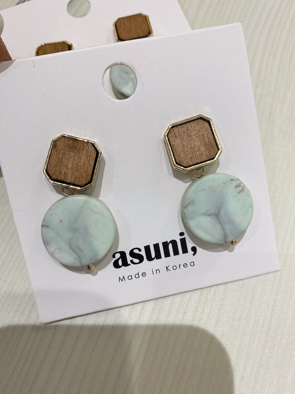 Amber x Marble Earrings In Mint