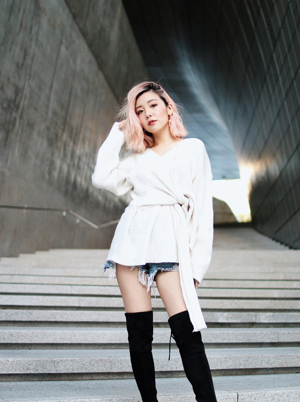 White Self Tie Front Open-Knit Sweater