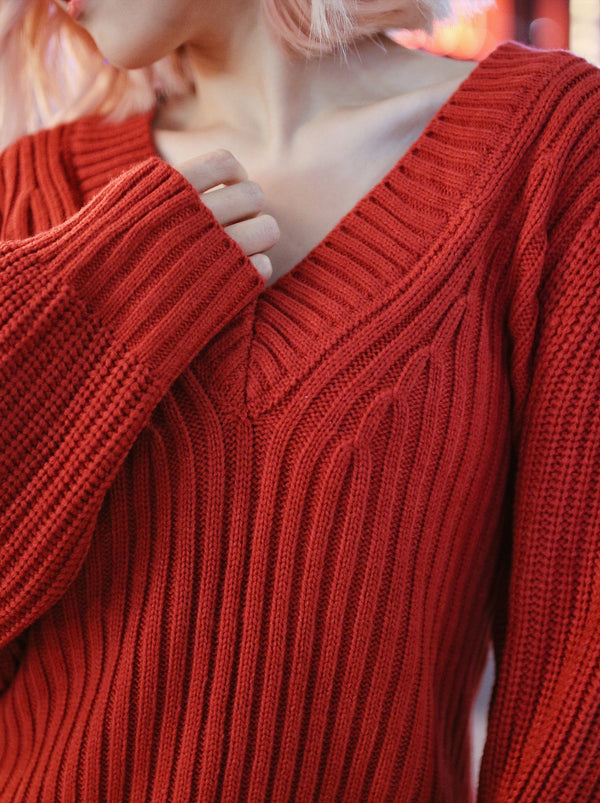 asuni, 3Way Self-Tie knit Wear in Red