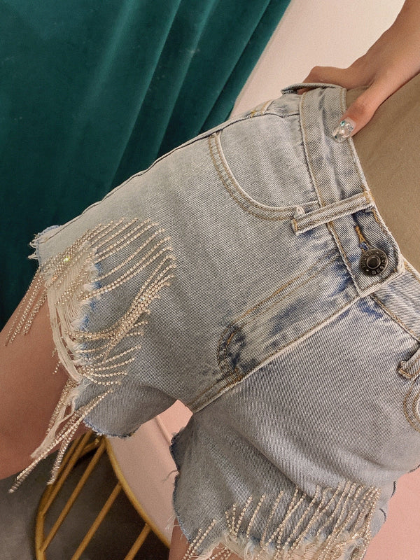 Rock It Girl Denim Short With Chain Link Details