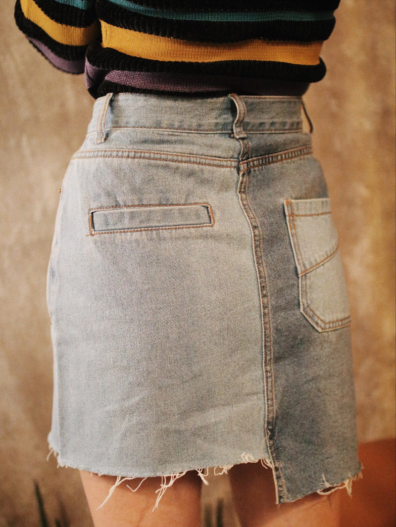 Mismatched Dark & Light Denim Skirt