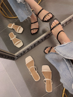 Simple Double Straps Sandal In Black