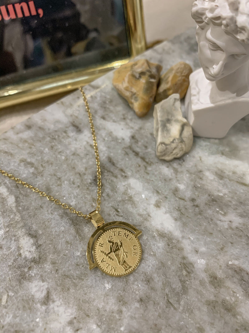Gold Roman Arc Coin Necklace
