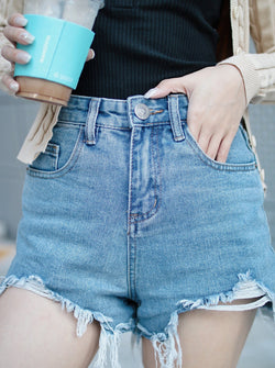 asuni,design High Waist Denim Shorts