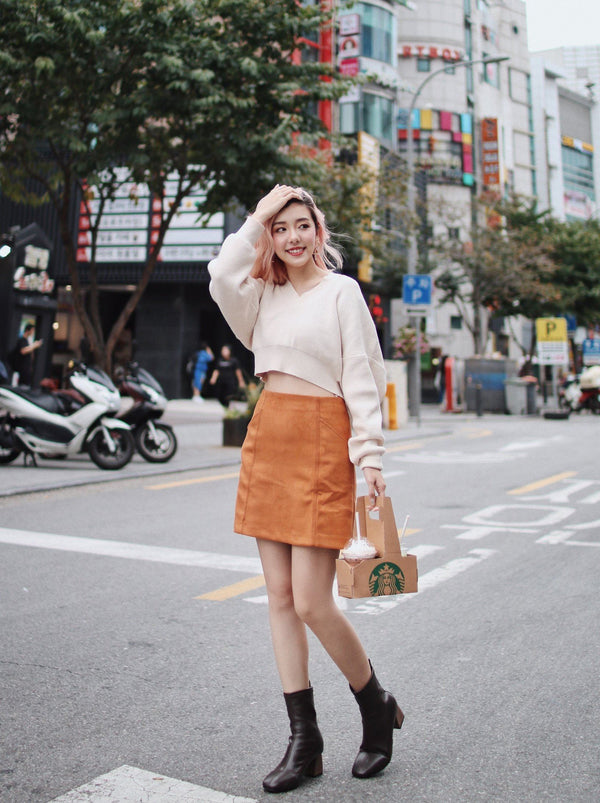 Mini Suede Skirt - Orange Brown