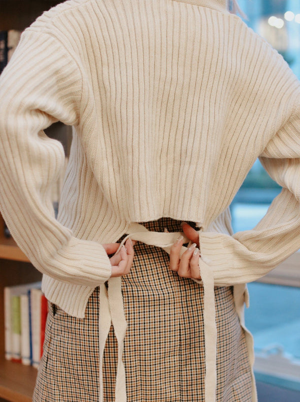 Tie-Back Knit Cardigan - White