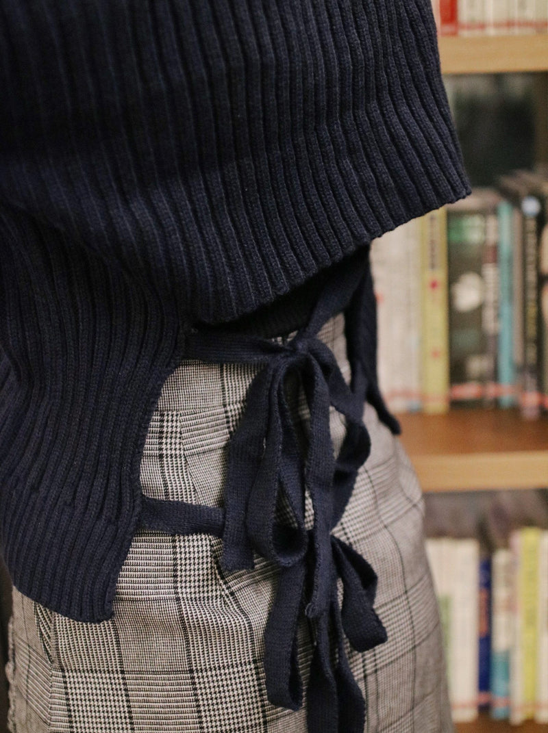 Tie-Back Knit Cardigan - Dark Blue