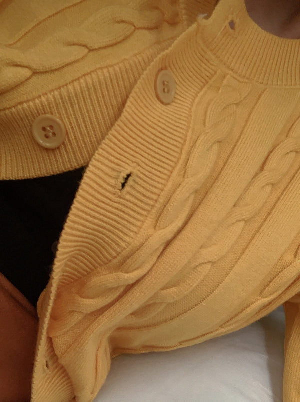 Knit Buttoned Up Cardigan - Yellow