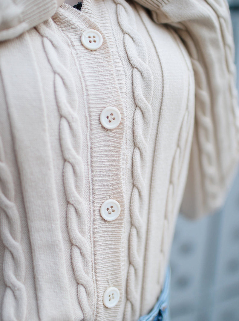 Knit Buttoned Up Cardigan - Cream