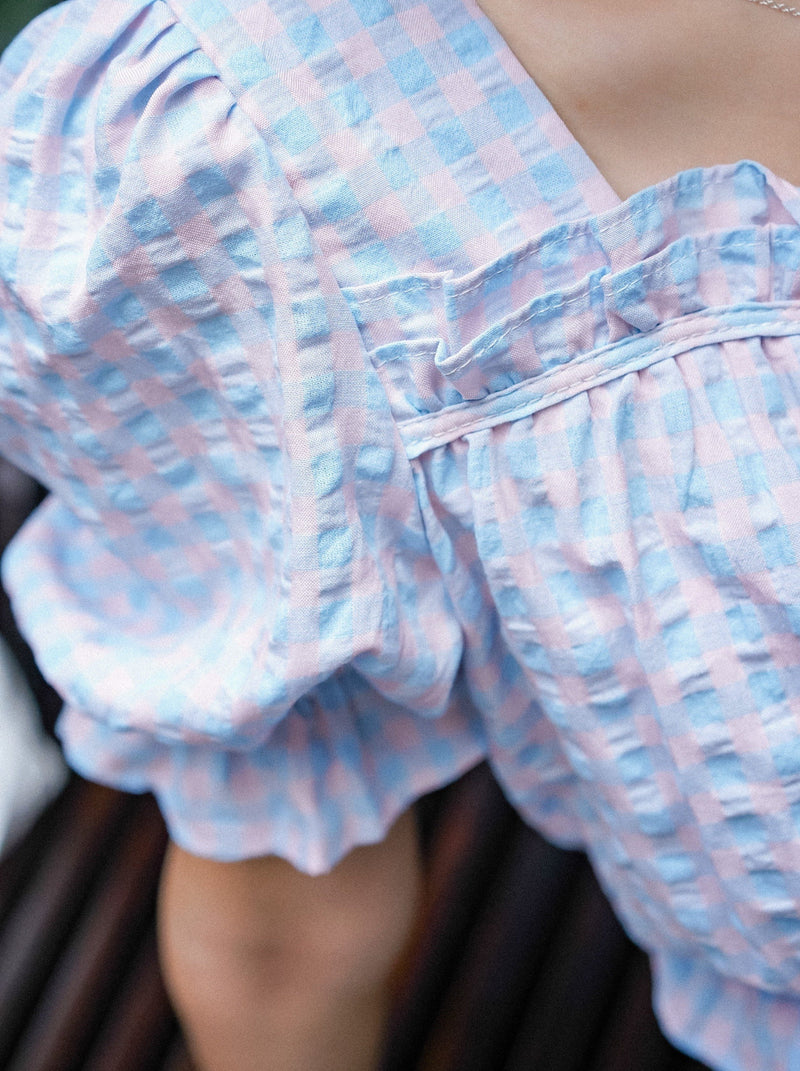 Cheesy Picnic Puffy Top With Check Detail