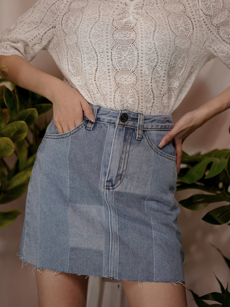 Somehow Different But Mixed Fabric Denim Skirt