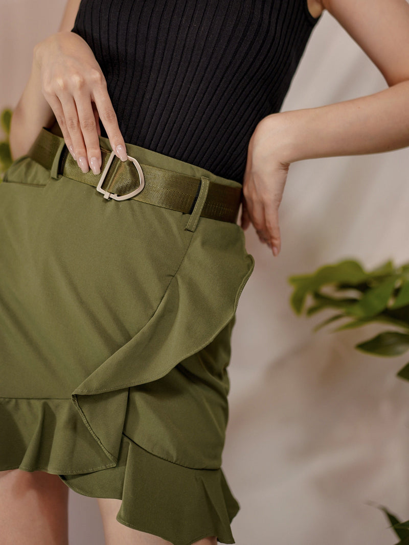 Feelin' Good Ruffle Skirt With Belt In Army Green