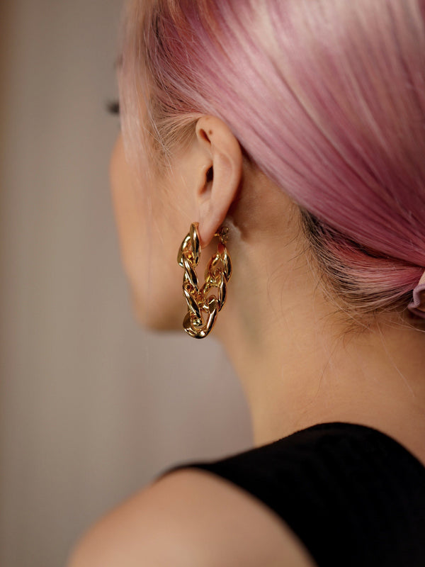 2 Ways Golden Chain Earrings