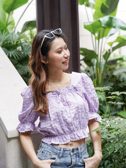Cheesy Picnic Puffy Top With Check Detail In Lavender
