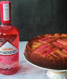 Rhubarb Gin, Ginger & White Chocolate Upside Down Cake