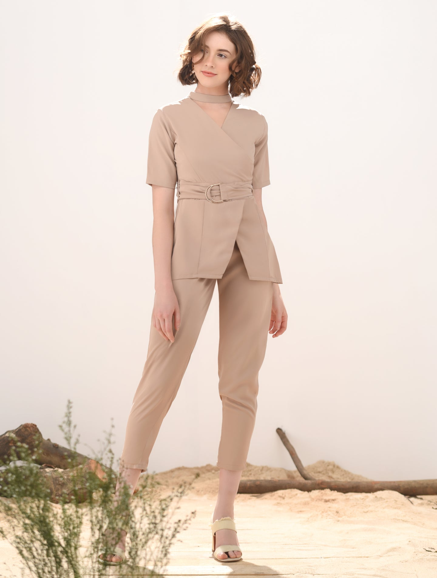 Notch Short Sleeve Pantsuit