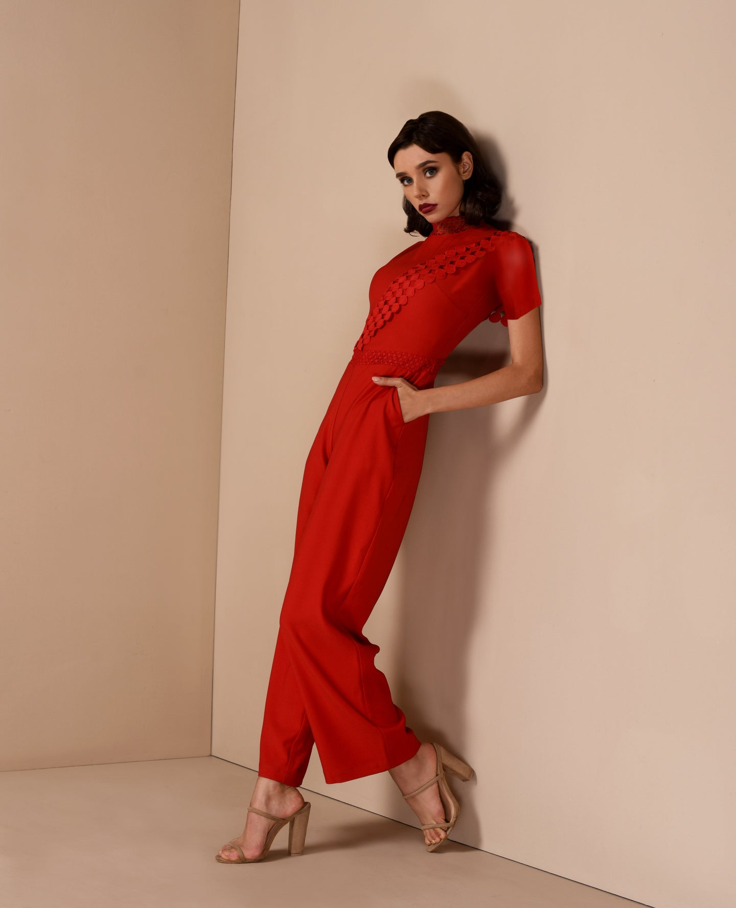 Upper Short Sleeves Pantsuit