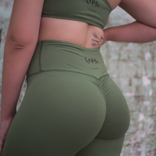 Khaki Full Length Scrunched Butt