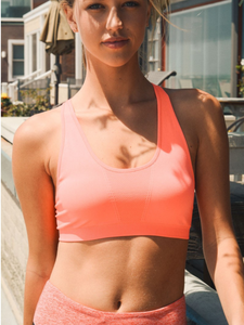 Coral Strappy Sports / Yoga Bra - Her Athletic Lifestyle