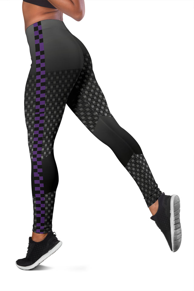 Carbon Fiber Purple Checkers Leggings - Her Athletic Lifestyle