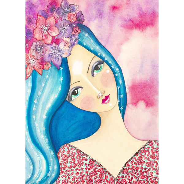 Flowers On Her Head Giclee Fine Art Print