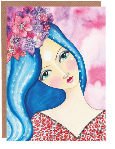 Flowers On Her Head Blank Greetings Card by Sonya Bull Art