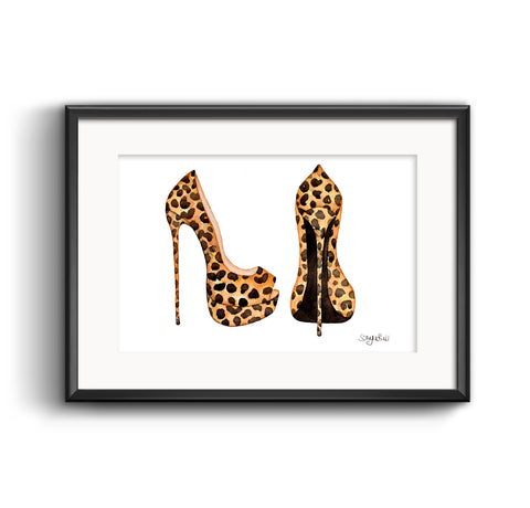 Killer Leopard High Heels Art Print