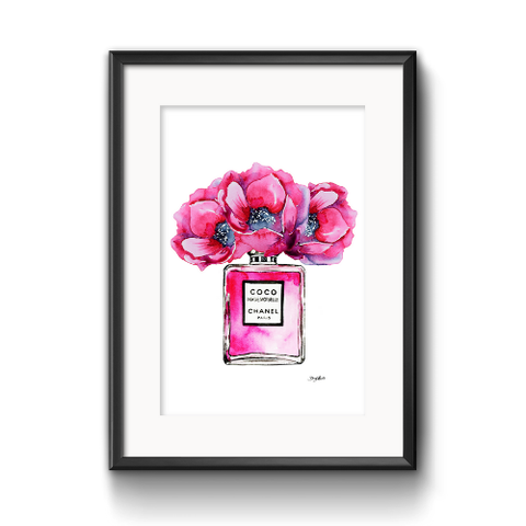 Pink Watercolour Chanel Perfume Bottle with Flowers Art Print