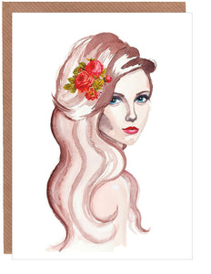 Sultry Lady Blank Greetings Card by Sonya Bull Art
