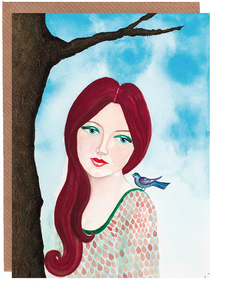 Wistful Blank Greetings Card by Sonya Bull Art