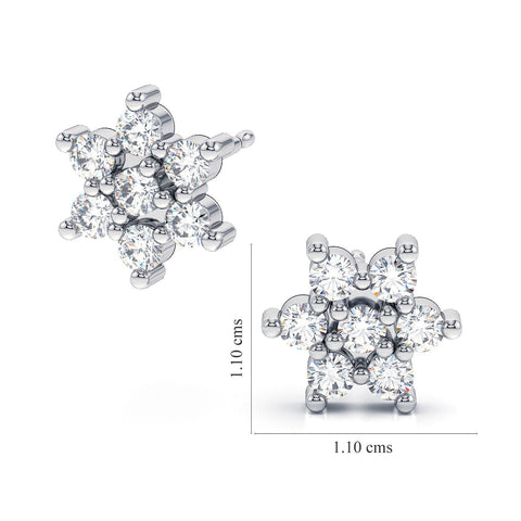 floral flower design stud Swarovski Crystal 3mm round