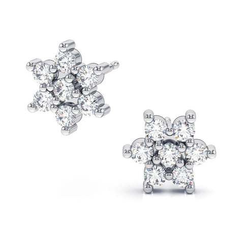 swarovski crystal stud earrings floral flower design