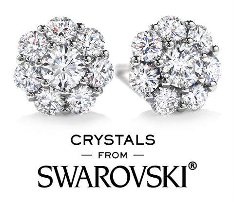 swarovski crystal round cut floral stud earrings