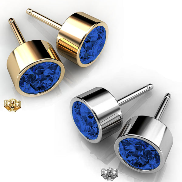 2 Pairs of Gold-Plated Personalized Swarovski® Birthstone Crystal Stud Earrings in Gold and Silver
