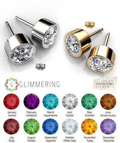 Image of 2 Pairs of Gold-Plated Personalized Swarovski® Birthstone Crystal Stud Earrings in Gold and Silver