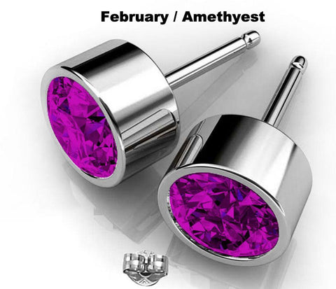 Image of Purple crystal Swarovski earrings studs February birthstone